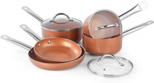 5 pc Salter Copper Ceramic Pan Set