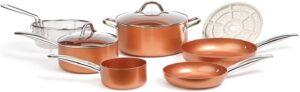9 pc copper chef pans set