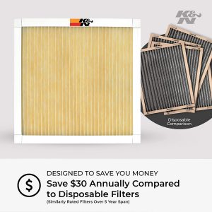 K&N 24x30x1 HVAC Air Filter; Lasts a Lifetime; Washable; Merv 11; Filters Allergies, Pollen, Smoke, Dust, Pet Dander, Mold, Smog, and More; Breathe Cleanly at Home, HVC-12430