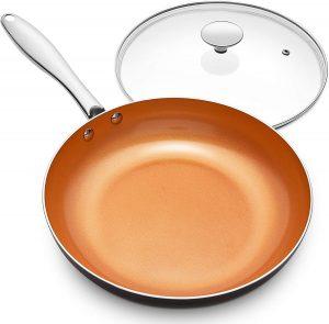 MICHELANGELO, Nonstick Copper Frying Pan with lid